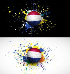 Netherlands flag with soccer ball dash on colorful vector image vector image