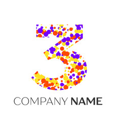 Number three logo with purple yellow particles vector
