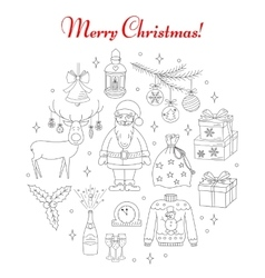 PrintChristmas and New Year holiday line icons set vector image vector image