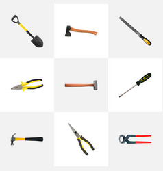 realistic pliers spade tongs and other vector image