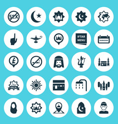 Religion icons set collection of mecca mosque vector