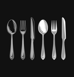set of fork spoon and knife cutlery tableware vector image
