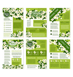 Spring posters or brochures flowers bunches vector