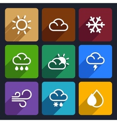 Weather flat icons set 27 vector image vector image