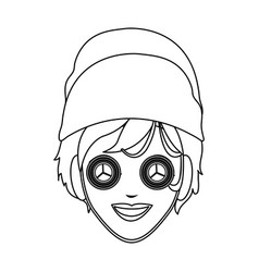 Woman with hair wrapped in towel and with a mask vector