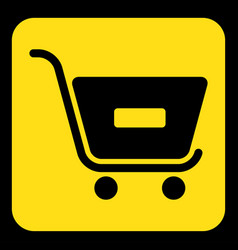 Yellow black sign - shopping cart minus vector