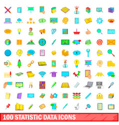 100 statistic data icons set cartoon style vector