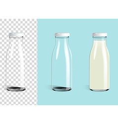 Empty glass bottle and glass milk bottle vector