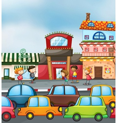 cars and kids vector image