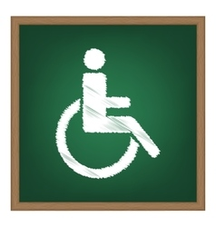 Disabled sign  white chalk effect on vector