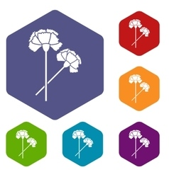Carnation icons set vector