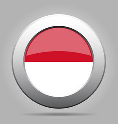 Flag of indonesia metallic gray round button vector