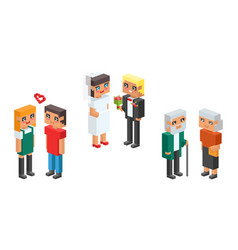 3d isometric family couple children kids people vector