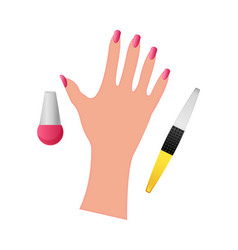 Hand with nail polish on a white background vector