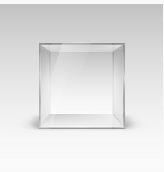 Empty glass showcase in cube form on white vector