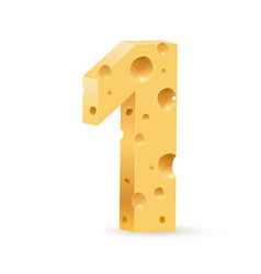 Number one on white for design vector