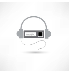 Grey headphones and mp3 player vector