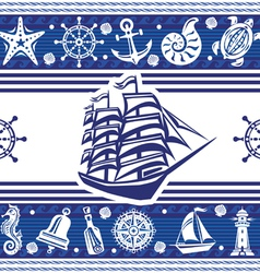 Banner with Nautical symbols and ship vector image