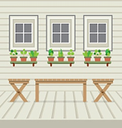 Empty three benches on wood wall and ground with vector
