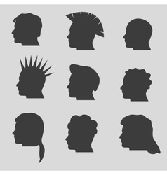 nine types of man hair styles head silhouettes vector image