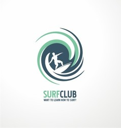 Surfing club logo design vector