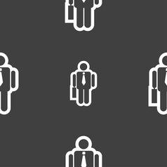 Businessman icon sign seamless pattern on a gray vector
