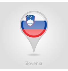 Slovenian flag pin map icon vector