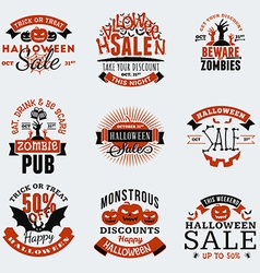 Set of retro vintage happy halloween badges vector