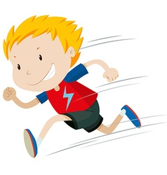 Little boy running alone vector