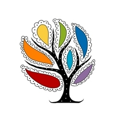 Art tree with colorful petals for your design vector