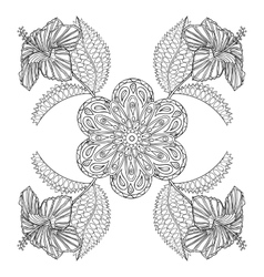 Coloring page with exotic flowers zentangle vector