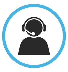 Call center operator flat rounded icon vector