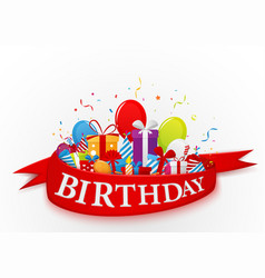 Birthday celebration elements with red ribbon vector