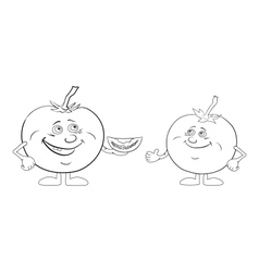 Character tomatoes friends outline vector