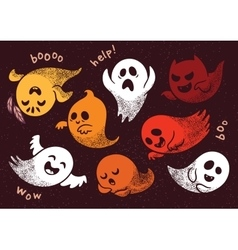 Halloween set with various spooky ghosts vector image