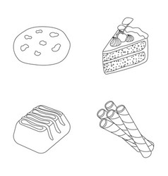 American cookies a piece of cake candy wafer vector