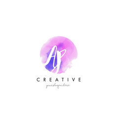 Ap watercolor letter logo design with purple vector