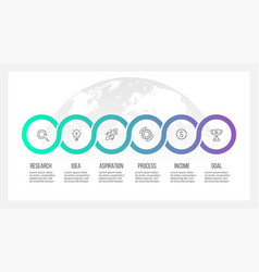 Business process timeline infographics with 6 vector