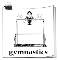 Card with woman doing gymnastics vector image