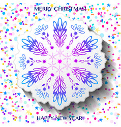 christmas card with snowflake and confetti vector image