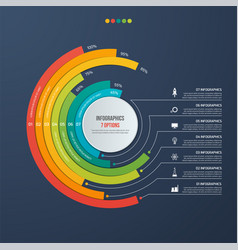 Circle informative infographic design 7 options vector
