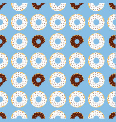 Dark and withe chocolate donuts with blue vector