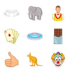 Dodger icons set cartoon style vector