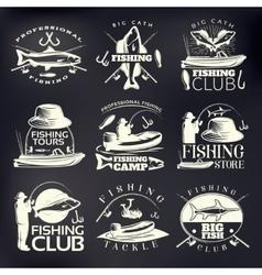 Fishing Emblem Set On Dark vector image
