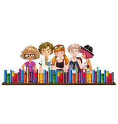 five teenagers and many books vector image vector image
