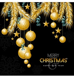 Gold Christmas and new year ornament decoration vector image vector image