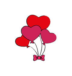 hearts balloons air icon vector image