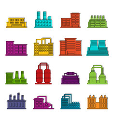 industrial building icons doodle set vector image