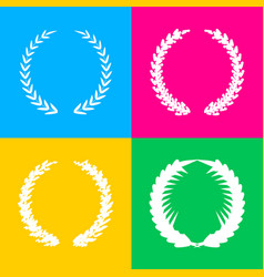 laurel wreath sign four styles of icon on four vector image