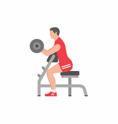 man lifting up barbells doing biceps exercise vector image